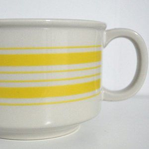 Vintage Soup Mug Ceramic Vintage Yellow striped